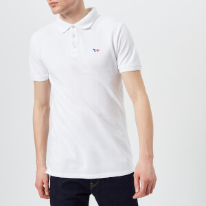 Maison Kitsuné Men's Tricolor Fox Patch Polo Shirt - White: Image 1