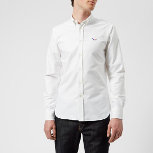 Maison Kitsuné Men's Oxford Tricolor Long Sleeve Shirt - White