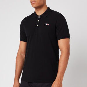 Maison Kitsuné Men's Tricolor Fox Patch Polo Shirt - Black