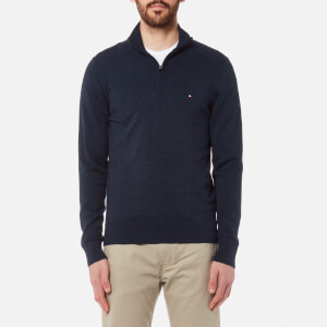 Tommy Hilfiger Men's Plaited Cotton/Silk Zip Neck Knit Sweater - Navy Blazer Heather