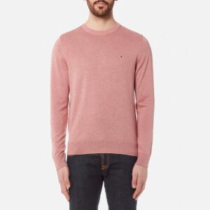 Tommy Hilfiger Men's Plaited Cotton/Silk Crew Neck Knit Jumper - Dusty Rose