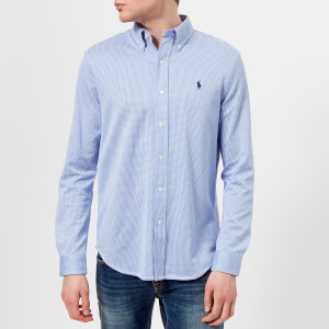 Polo Ralph Lauren Men's Long Sleeve Oxford Pique Shirt - Stratford Blue/White