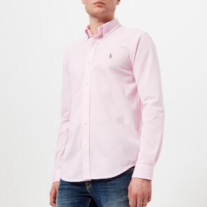Polo Ralph Lauren Men's Long Sleeve Oxford Pique Shirt - Carmel Pink/White