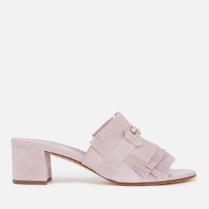 Tod's Women's Suede Double T Fringe Mules - Light Pink