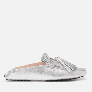 Tod's Women's Gommino Fringe Metallixc Leather Loafers - Silver