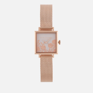 Olivia Burton Women's Lace Detail Square Dial Watch - Blush Dial/Rose Gold Mesh