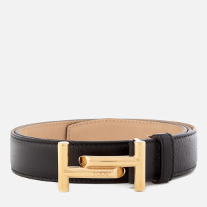 Tod's Men's Double T Stitch Detail Belt - Black