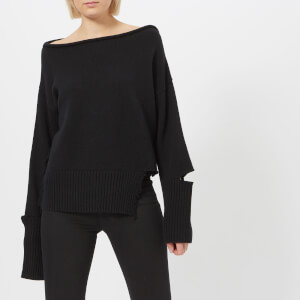 Helmut Lang Women's Distressed Off The Shoulder Jumper - Black