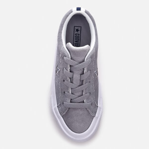 Converse Kids' One Star Ox Trainers - Wolf Grey/White/Navy: Image 3
