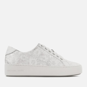 MICHAEL MICHAEL KORS Women's Poppy Metallic Flower Leather Low Top Trainers - Optic/Silver