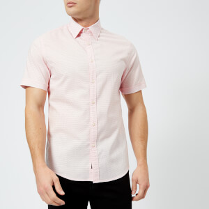 Michael Kors Men's Slim Fit Micro Pin Dot Garment Dyed Short Sleeve Shirt - Faded Pink