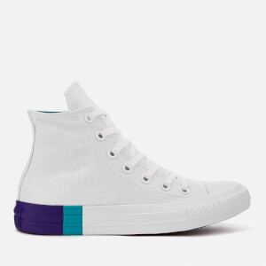 Converse Women's Chuck Taylor All Star Hi-Top Trainers - White/Enamel Aqua/Court Purple