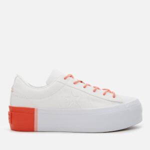 Converse Women's One Star Platform Ox Trainers - White/Bright Poppy