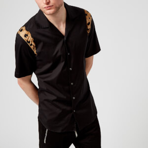 Dsquared2 Men's Relax Dan Leopard Print Short Sleeve Shirt - Black