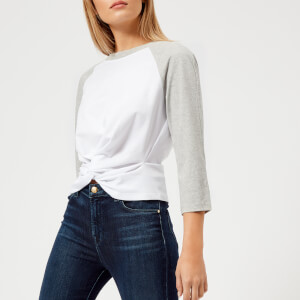 T by Alexander Wang Women's High Twist 3/4 Sleeve Twist Front Top - Heather Grey/White