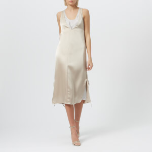 T by Alexander Wang Women's Heavy Drape Satin Dress - Champagne/Stripe Combo
