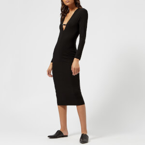 T by Alexander Wang Women's Stretch Jersey Bra Strap Detail Midi Dress - Black
