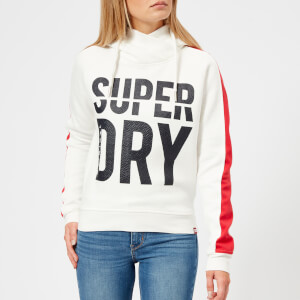 Superdry Women's Dimension Panel Sport Crop Hoody - Off White