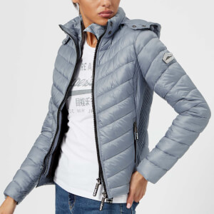 Superdry Women's Luxe Chevron Fuji Coat - Metal Grey