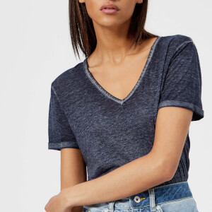 Superdry Women's Burnout Vee T-Shirt - Dark Pebble Grey