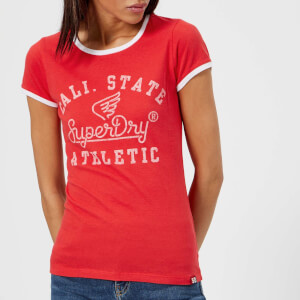 Superdry Women's State Athletic Ringer Entry T-Shirt - Ahoy Red