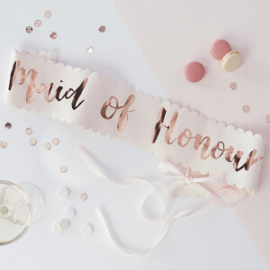 Ginger Ray Maid of Honour Sash - Pink/Rose Gold