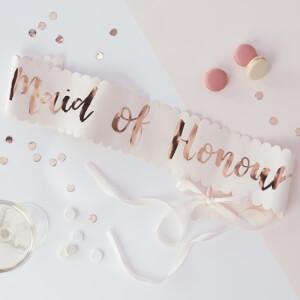 Ginger Ray Maid of Honour Sash - Pink/Rose Gold