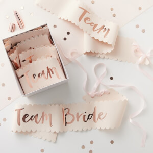 Ginger Ray Team Bride Sash - Pink/Rose Gold (6 Pack)
