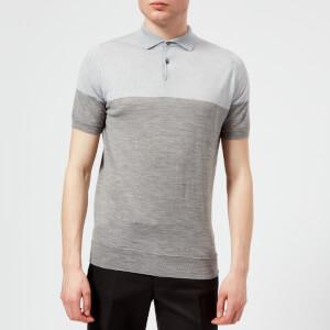 John Smedley Men's Toller 30 Gauge Extra Fine Merino Wool Polo Shirt - Silver/Bardot Grey