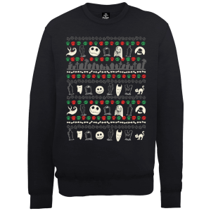 The Nightmare Before Christmas Jack Sally Zero Faces Schwarz Pullover