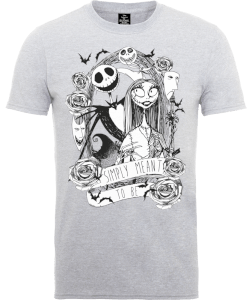 Disney The Nightmare Before Christmas Jack Skellington And Sally Grey T-Shirt