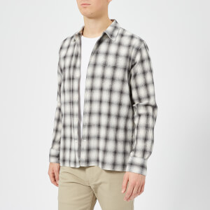Officine Générale Men's Japanese Check Shirt - Black White