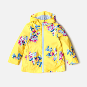 Joules Girls' Raindance Waterproof Coat - Yellow Margate Floral