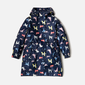 Joules Girls' Golightly Waterproof Packaway Jacket - French Navy Dotty Dogs