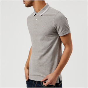 Tommy Jeans Men's Tipped Polo Shirt - Light Grey Heather