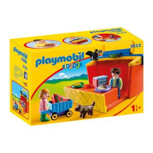 Playmobil 1.2.3 : Étal de marché transportable (9123)