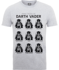 T-Shirt Star Wars Many Faces Of Darth Vader- Grigio