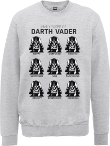 Sweat Homme Les Visages de Dark Vador - Star Wars - Gris