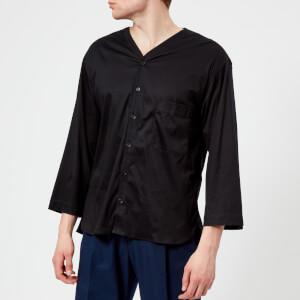 Lemaire Men's Short Sleeve V Neck Shirt - Black