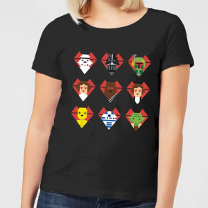 Star Wars Valentine's Pixel Montage Women's T-Shirt - Black