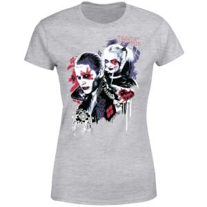 T-Shirt Femme Suicide Squad Harley Quinn et le Joker (DC Comics) - Gris