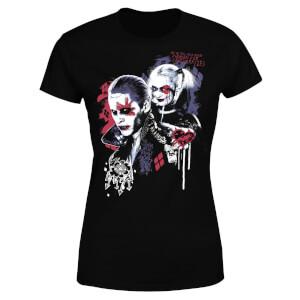 T-Shirt Femme Suicide Squad Harley Quinn et le Joker (DC Comics) - Noir