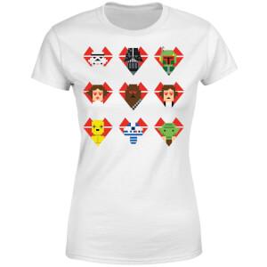 T-Shirt Femme Cœurs Pixels (Star Wars) - Blanc