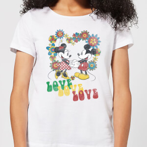 T-Shirt Femme Amour Hippie Mickey & Minnie Mouse (Disney) - Blanc