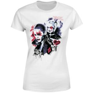 T-Shirt Femme Suicide Squad Harley Quinn et le Joker (DC Comics) - Blanc