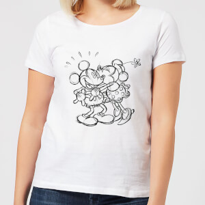 Disney Mickey Mouse Kissing Sketch Women's T-Shirt - White