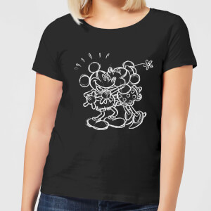 Disney Mickey Mouse Kissing Sketch Dames T-shirt - Zwart
