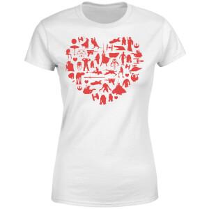 T-Shirt Femme Collage Cœur (Star Wars) - Blanc