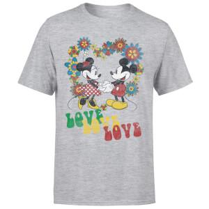 Disney Mickey Mouse Hippie Love T-Shirt - Grey