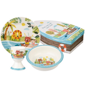 Little Rhymes Row Your Boat 3 Piece Ceramic Set